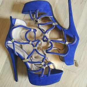 Bebe blue gold detailed heels